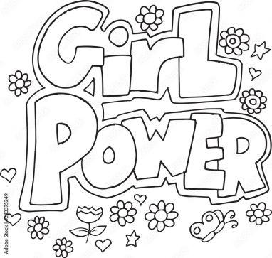Foto auf Plexiglas Cute Girl Power Coloring Page Vector ...