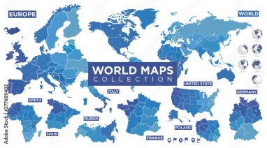 Poster World map with countries - Fotos4art.de