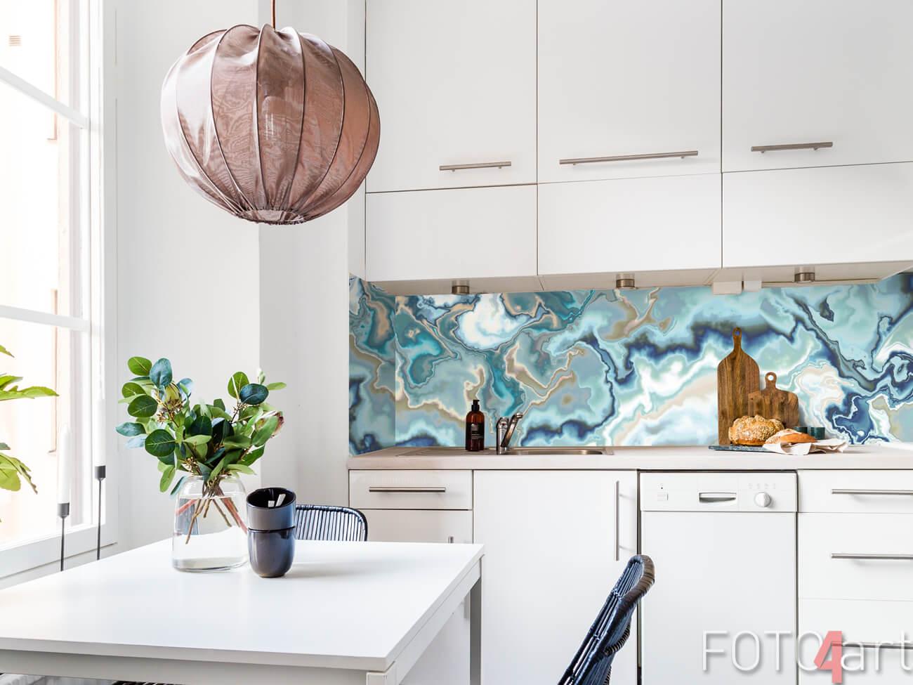 Glas Kücherückwand Marmor