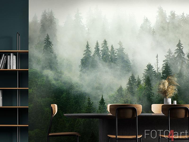 Fototapeten - Misty landscape with