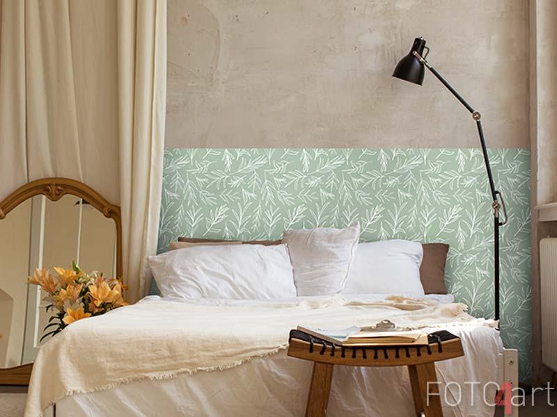 Wandaufkleber Weißer Vektor verlässt nahtloses Muster. Zufällig platzierte Pflanzen All Over Print auf salbeigrünem Hintergrund