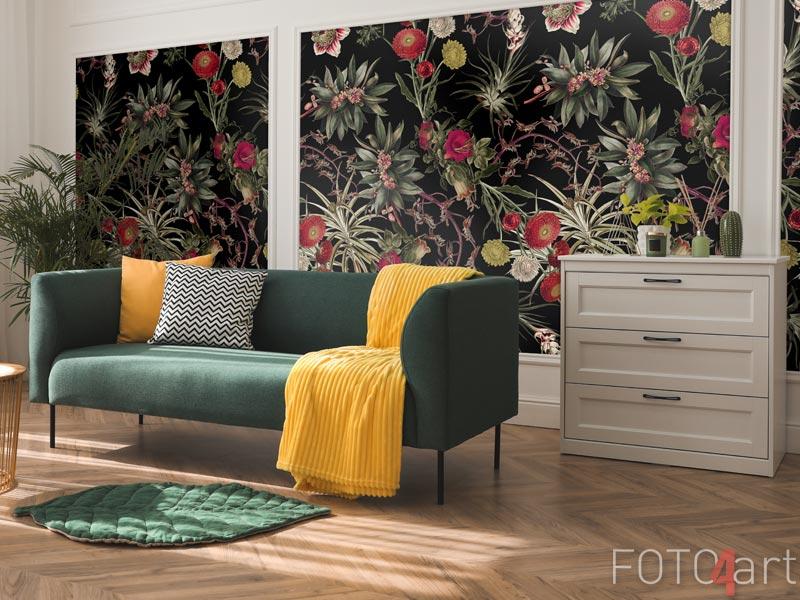 Tapeten - Tropische Vintage rote Blumen