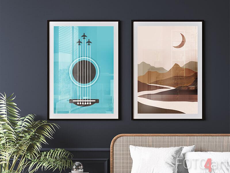 Poster Im Rahmen Gitarre und abstrakt
