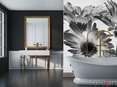 Badezimmer Rückwand mit Foto Gerbera