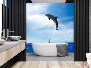 Badezimmer mit Glasrückwand Dolphin