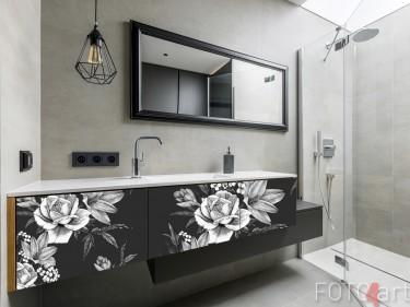 Badezimmer mit Möbelaufkleber Vintages Blumen