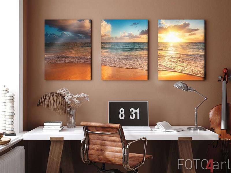 3-Teilige Leinwand Sonnenaufgang am Meer