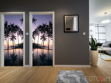 Deurstickers - kokospalmen bij zonsopgang