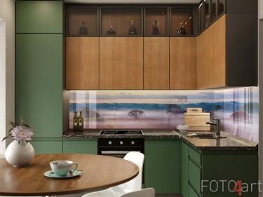 Foggy Sonnenaufgang auf Glas Küchenrückwand