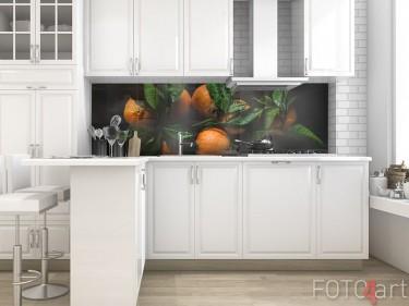 Küchenrückwand aus Glas mit Mandarinen