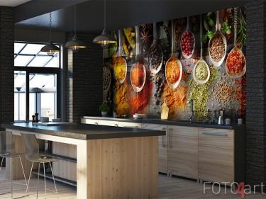 Glas-Küchenrückwand mit Kräutern