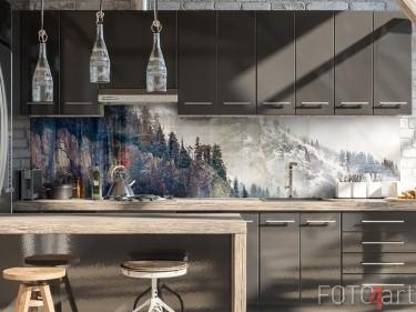 Glas-Küchenrückwand mit Berg