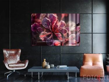 Gefrorene Blumen auf Acrylglas