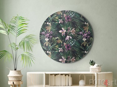 Alu-Dibond Wandkreis mit tropischen Blumen