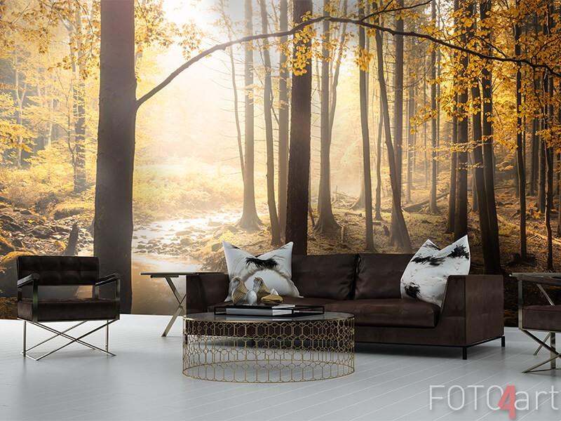 Fototapete mit Waldfluss