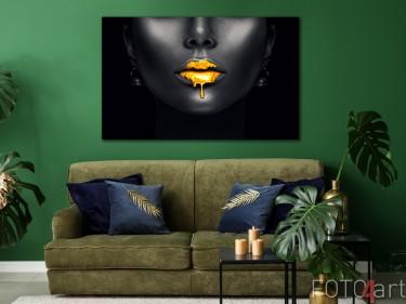 Foto Goldene Fashion Lippen auf Alu-dibond
