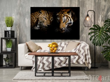 Foto auf Alu-dibond Leopard und Tiger