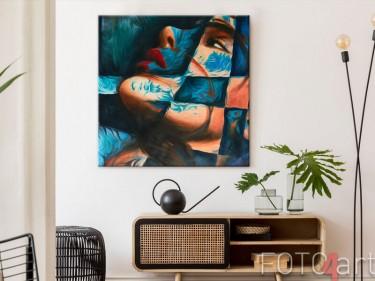Abstraktes Porträt als Foto auf Leinwand