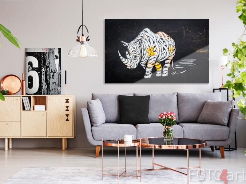 Foto auf Plexiglas buntem Graffiti Nashorn