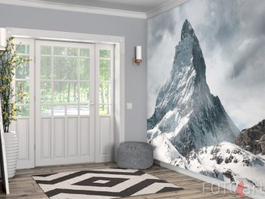 Abwaschbare Fototapete verschneite Berggipfel