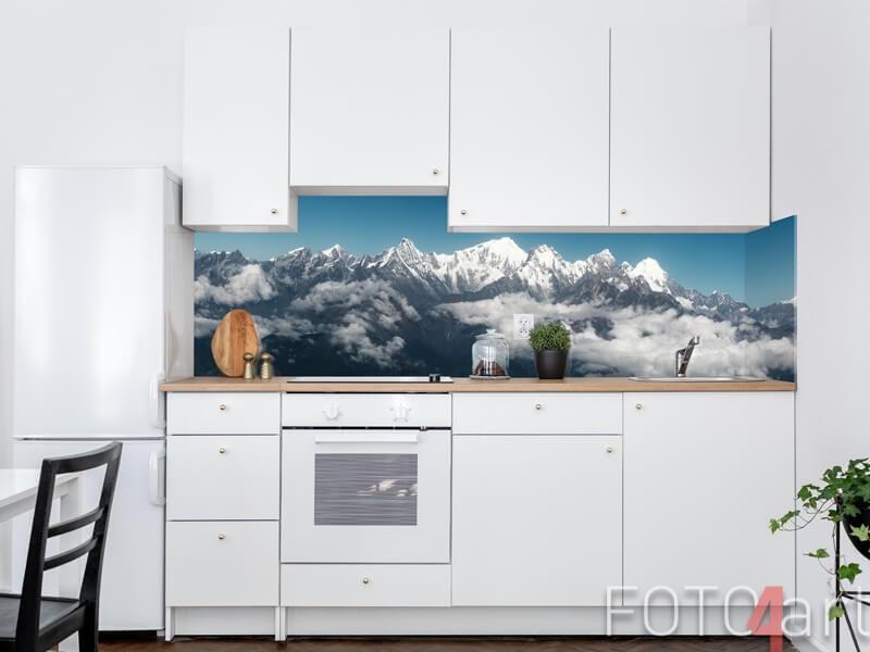 Glas Küchenrückwand mit schneebedeckten Bergen