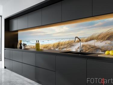 Glasküchenhintergrund mit Foto Nordsee