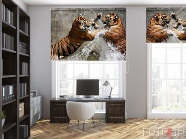 Büroflächen mit Fotorollo Tiger Kämpfen
