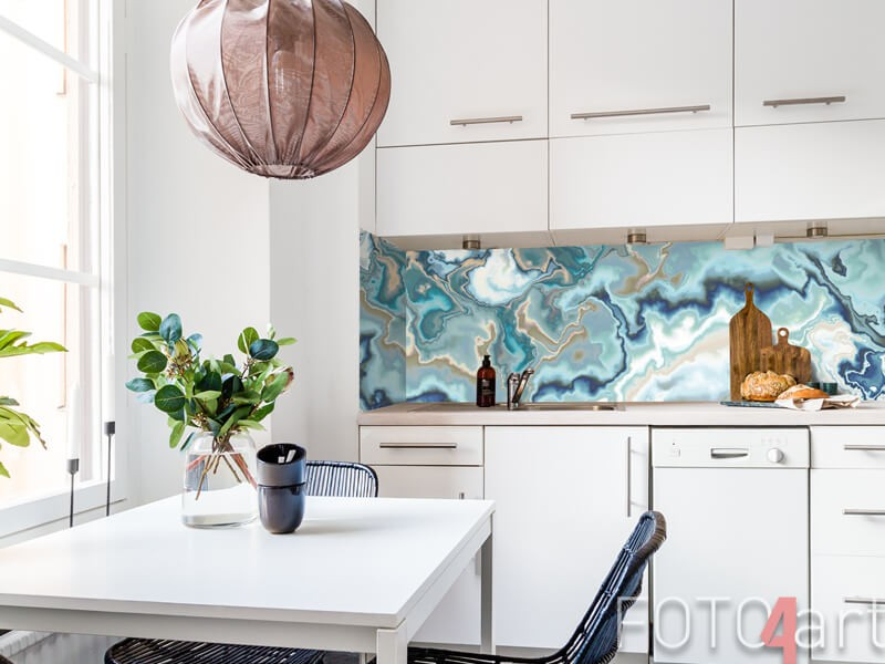 Küchenrückwand aus Glas mit Marmordruck