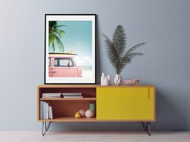 Gerahmtes Poster mit Retro Bus