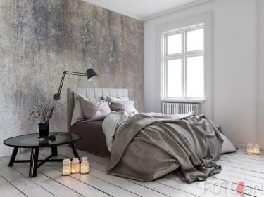 Schlafzimmer mit Fototapete Beton