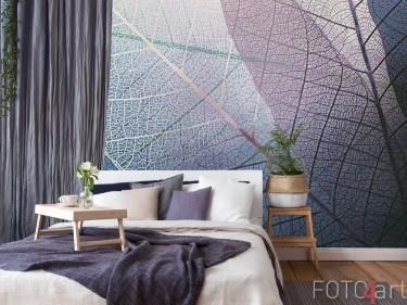 Schlafzimmer mit Fototapeten Beschaffenheits Blättern
