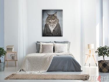 Slaapkamer met Illustratie Hipster Kat op Canvas