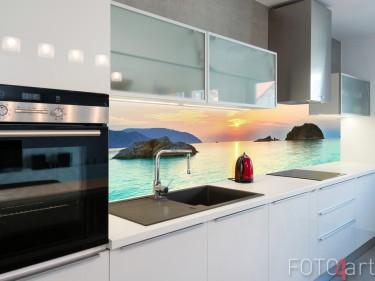 Spritzwand mit Foto Sonnenuntergang Meer