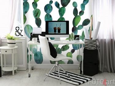 Arbeitszimmer mit Fototapeten Aquarell Kakteen