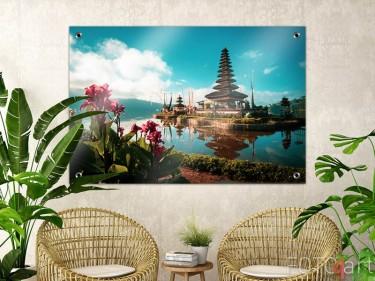 Garten-Poster mit Hindu-Tempel