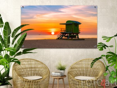 Gartenposter eines Sonnenuntergangs am Meer