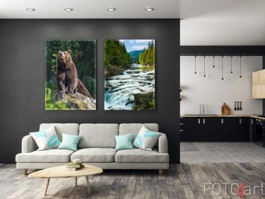 Wohnzimmer mit Foto auf Leinwand Bär und Gebirgsfluss