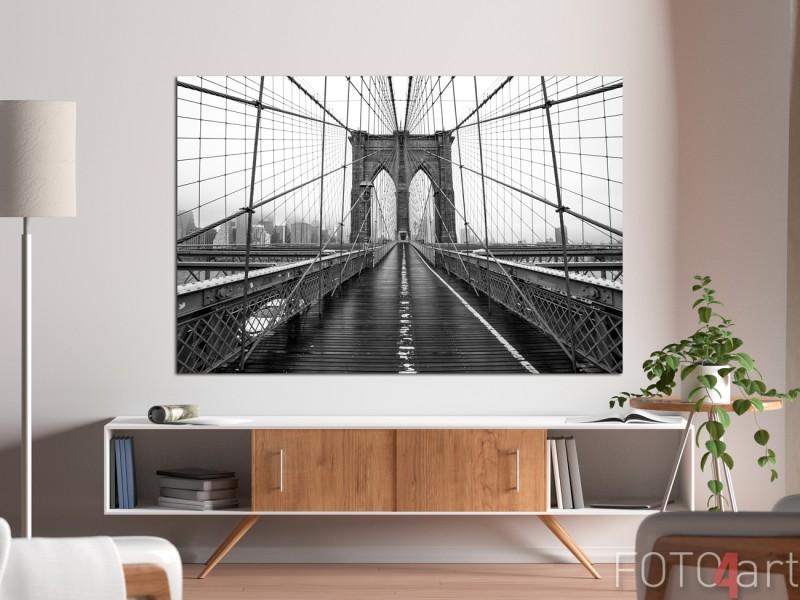 Wohnzimmer mit Foto auf Aluminium Brooklyn Bridge