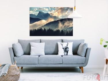 Wohnzimmer mit Foto von Bergen op Aluminium