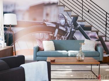 Wohnzimmer mit Fototapete Fahrrad