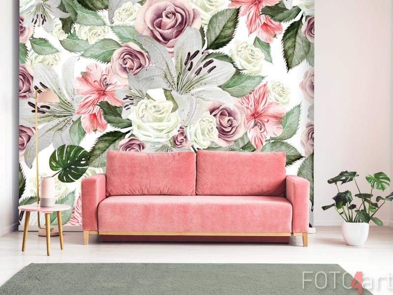 Wohnzimmer mit Fototapete Vintage Flowers